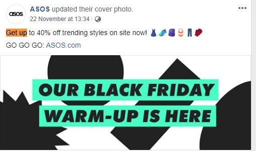 ASOS social media page